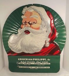 Santa Claus Metal Advertising Sign Couch Philippi Baked Enamel Signs 1950s