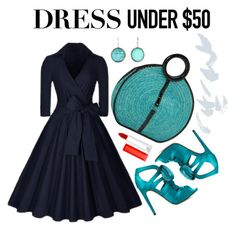 """""""Dress Under"""" by paperdollsq ❤ liked on Polyvore featuring ShoeDazzle, Magid, Ippolita, Maybelline, navybluedress and Dressunder50"""
