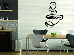 <3 Wandtattoo Tasse mit Kaffee und Schnörkel Küche
