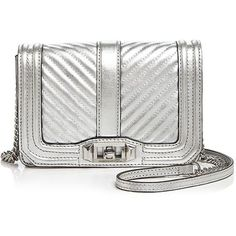 Rebecca Minkoff Love Chevron Quilted Metallic Small Leather Crossbody (810 RON) ❤ liked on Polyvore featuring bags, handbags, shoulder bags, white leather handbags, leather crossbody handbags, white leather shoulder bag, quilted leather handbags and crossbody shoulder bag