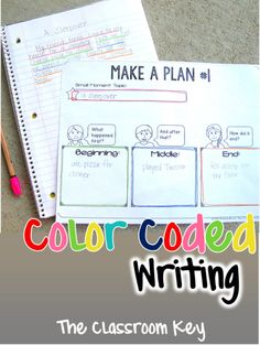 Use color coding to making writing organization obvious and to help students connec their plan to their draft