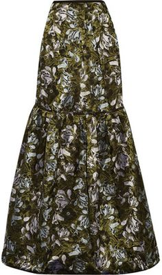 Shop Now - > https://api.shopstyle.com/action/apiVisitRetailer?id=609718943&pid=uid6996-25233114-59 Erdem - Amanda Tiered Floral-jacquard Maxi Skirt - Dark green ...