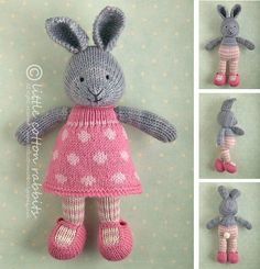 Knitted Toy knitting pattern for a bunny rabbit girl in a dotty dress