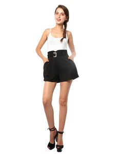Jersey Belted Shorts :  These shorts have center-front pleat details, slanted side pockets and a top hook and zipped front fastening with a wide waist band and belt-loop with metal buckle belt. #Shorts #Shopping #fashion