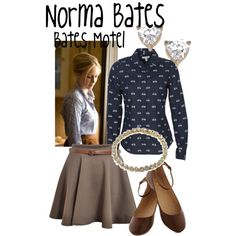 Norma Bates by evil-laugh on Polyvore featuring polyvore, fashion, style, Jon Richard, Topshop, batesmotel and normabates