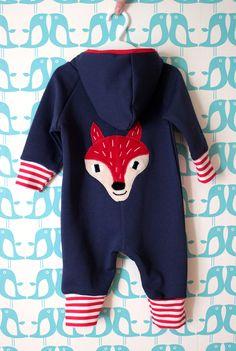 Hippu. Handmade blue coverall for a boy. Fox in back.