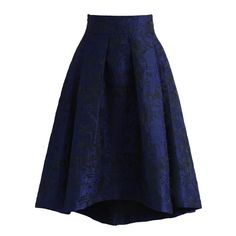 Chicwish Navy Glam Embossed Waterfall Skirt ($51) ❤ liked on Polyvore featuring skirts, blue, blue midi skirt, blue floral skirt, blue skirt, navy blue skirt and mid calf skirts