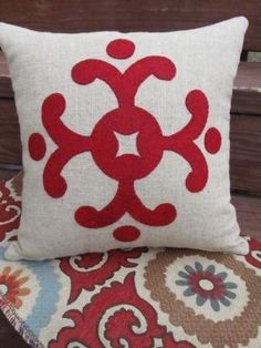 Red Wool Felt design on linen by agraceunlimited on Etsy, $50.00