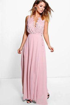 Boutique Lana Lace Scallop Top Maxi Dress