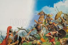 The Battle of Cannae, 216BC.  With the horrific journey over the Alps behind them, Hannibal's men embarked on devastating victories that left Rome reeling.  Cannae was the worst defeat the Roman republic ever suffered: an estimated 70,000 were killed or captured.  Thereafter Rome made sure that it avoided fixed battles with the invaders.  Original artwork.