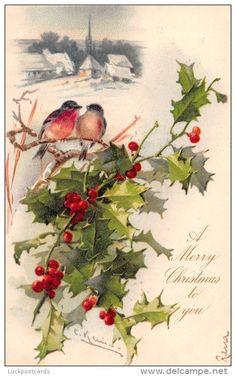 LP73 Postcard, Catherine Klein, Holly, Christmas Bird, - Klein, Catharina