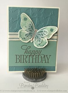 "Watercolor Wings, Butterflies Thinlits, Bold Butterfly Framelits, Happy Birthday, Everyone, Fluttering EF, Vellum, 2014-2016 In Color 5/8""Striped Cotton Ribbon"
