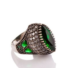 The Zerbap Rüçhan Ring with Zircon Emerald Stones by Rosestyle, $44.00