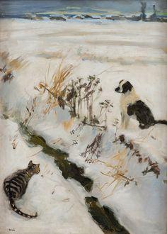 "huariqueje: "" Cat and Dog - Akseli Gallen-Kallela, 1890s Finnish, 1865-1931 Oil on canvas 59.5x42.5 cm. """