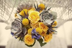 Katie's gorgeous yellow, grey, and cobalt blue bouquet (awesome color combo!) - photo by Hazelton Photography