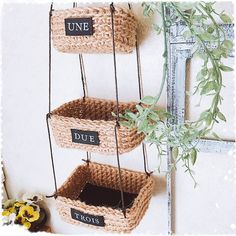 フェイクグリーン/麻紐/編み編み/三連カゴ/壁/天井のインテリア実例 - 2017-07-25 08:14:00 | RoomClip(ルームクリップ) Crochet Home Decor, Basket Bag, Silk Ribbon Embroidery, Jute, Crochet Patterns, Diy Crafts, Knitting, Handmade, Wicker Baskets