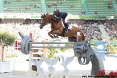 All We Are Saying Is Give Peace A Chance - Penelope Leprevost jumping a one of a kind fence at #WEG2014