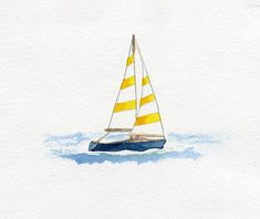 Watercolour sailing boat