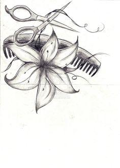 Flower With Scissor and Comb Tattoo Design