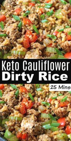Keto Cauliflower Dirty Rice Ketogenic Recipes, Diet Recipes, Recipies, Ketogenic Diet, Dukan Diet, Punch Recipes, Pasta Recipes, Low Carb Recipes, Chicken Recipes