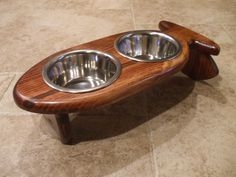 Raised Cat Feeder 1 Pint 4 Inch Double - Raised Cat Bowl - 2 Bowl Cat Feeder - Elevated Cat Feeder - Cat Feeding Station - Wooden Cat Feeder by WoodinYou on Etsy https://www.etsy.com/listing/86175949/raised-cat-feeder-1-pint-4-inch-double
