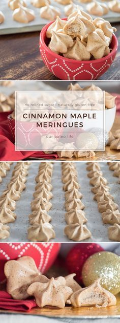These Cinnamon Maple Meringue Cookies are refined-sugar-free and naturally gluten-free. Sweetened with pure maple syrup and seasoned with Ceylon cinnamon, these meringues are the perfect addition to your holiday cookie swap. Sugar Free Desserts, Köstliche Desserts, Delicious Desserts, Sugar Free Meringue Cookie Recipe, Christmas Gluten Free Desserts, Plated Desserts, Easy Meringue Cookies, Meringue Desserts, Sugar Free Candy