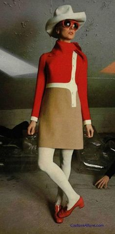 Louis Feraud, 1968. 60s shift dress color block color photo print ad model magazine red brown white cream hat shoes space age
