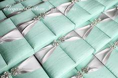 Tiffany Blue and Silver Silk Box Invitations Box Invitations, Blue Wedding Invitations, Wedding Stationery, Custom Invitations, Tiffany Blue Weddings, Tiffany Wedding, Audrey Hepburn Wedding, White Wedding Decorations, Wedding Mint Green