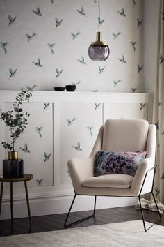 Our new and exclusive Clarke & Clarke Exotica wallpaper collection includes this amazing hummingbird wallpaper pattern called Woodstar. Tropical Wallpaper, Pastel Wallpaper, Fabric Wallpaper, Kids Room Paint, Kids Rooms, Hummingbird Wallpaper, Coloured Feathers, Kids Room Wallpaper, Kids Room Organization