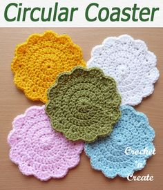 Circular coaster designed in basic crochet stitches, use this free crochet pattern for outdoor living as well as your dining area. CLICK and scroll down the page for the pattern. Crochet Coaster Pattern, Crochet Doily Patterns, Basic Crochet Stitches, Crochet Basics, Crochet Flowers, Doilies Crochet, Crochet Faces, Crochet Gifts, Crochet Yarn