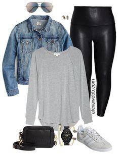 Plus size faux leather leggings outfits - plus size denim jacket. Us size t-shirt. Iator sunglasses - plus size fashion for women -. Casual Leggings Outfit, Plus Size Legging Outfits, Outfits Plus Size, Casual Outfits, Work Outfits, Leather Leggings Plus Size, Spanx Leather Leggings, Plus Size Leggings, Shiny Leggings