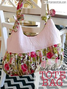 Tied-Handle Tote Bag - PDF Sewing Pattern by My 3 Monsters  #sewing #quilting