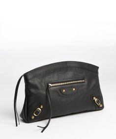 Balenciaga black leather leather 'Classic Premier' clutch
