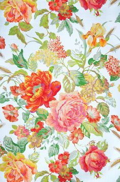Mega Chintz Citrus Fabric No: 8398401 100% Linen Width: 58 in (147.32 cm) Vertical Repeat: 77 in (195.58 cm) Horizontal Repeat: 58 in (147.32 cm) Average Bolt: 63 yard(s) Flame Retardant: None Finish: None Backing: None Date Booked: 06/2007 Book: Isaac Mizrahi New York (3 Books) Country: AUSTRIA