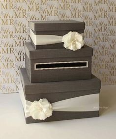 2014 satin ribbon card box for beach wedding, rustic card money box, gift card box