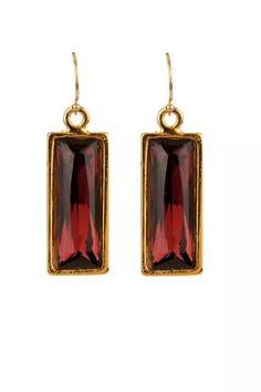 Warner Large Rectangle Earrings, Burgundy