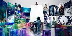 A canvas is a gate to another world. You just need to paint a key, that key is your imagination
