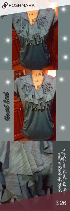 """NWOT Gorgeous HS """"Heartsoul"""" Ruffled blouse Brand new, Heartsoul Ruffled blouse , very gorgeous shade of blue w/a touch of black blended in, can wear front opened or close as shown in last few pictures blouse has hook clasps at neck to wear closed for different look, dress it up or down , great for night out or any occasion. Very comfortable blouse , has a very smooth silky feel. can wear all year around w/ any style jacket , I have in others colors also,  listing the ones that I never got…"""