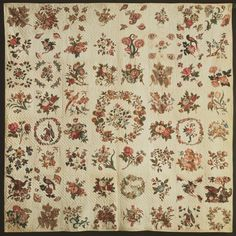 Album Quilt  Made by Sarah Flickwir, American  Date: 1840-1846 Medium: Cotton plain weave with block and roller-printed chintz appliqué; herringbone quilting; drawing, stamping, inscriptions, and signatures in ink  Accession Number: 1952-63-1