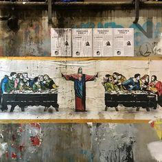 Distanciamento Social na Santa Ceia - Imagem fotografada no bairro de Navigli em Milão, na Italia.