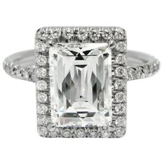 2.22 Carat GIA Cert Tycoon Cut Diamond Platinum Frame Ring | From a unique collection of vintage engagement rings at https://www.1stdibs.com/jewelry/rings/engagement-rings/