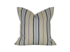 """18"""" x 18"""" Designer Pillow Cover / Decorative Throw Pillow / Accent Cushion Cover / Pillow Case (Tan, Blue and White Stripes)"""