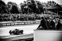 Black & White Motorsport photographic print, racing car home straight art for den workshop or study, Fraser Nash Mille Miglia. One of the premier vintage revival events in the UK, the Goodwood Revival is renowned for the quality of the racing and the effort racegoers to be and look part of the day. This shot of the 1951 Fraser Nash Mille Miglia, taken at the start of the home straight could indeed be vintage, but was shot in Sept 2015, processed by me to preserve a vintage feel…