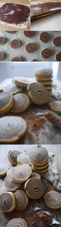 Chocolate and vanilla shortbread spiral ! The spiral biscuits, it titillated me to try because I find it really too beautiful. I took out my perfect shortbread recipe of my grandmother(Baking Treats Shortbread Cookies) Cookie Desserts, Just Desserts, Cookie Recipes, Delicious Desserts, Dessert Recipes, Yummy Food, Biscuit Cookies, Sugar Cookies, Shortbread Recipes
