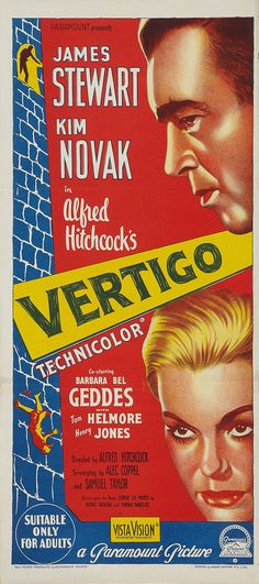 "Australian poster for ""Vertigo."" Great colours and tension and Iove that proviso at the bottom that it's ""Suitable Only for Adults."""
