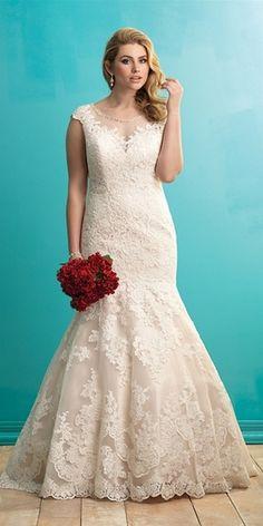 Allure Illusion plus size lace wedding dress
