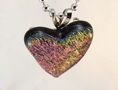 Valentine heart fused dichroic glass necklace