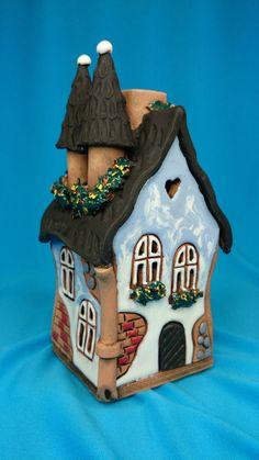Handmade Ceramic Lithuanian House Tea Light Candle Holder & Aroma Oil Burner