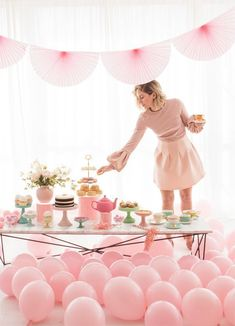 a pink bridal shower tea party with balloons, paper fans and a large dessert table Girls Tea Party, Tea Party Theme, Tea Party Birthday, Ladies Party, Birthday Party Themes, Baby Birthday, Birthday Woman, Vintage Birthday, Tea Parties