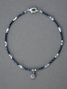 Jewelry - Anklets - Blue Metallic Flower Anklet  by JewelryArtByGail on Etsy
